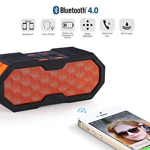Waterproof Wireless Speakers, Wireless Speakers With Built-in Microphone for Calls for iPhone, iPod, iPad, Samsung, LG and Other BT Devices