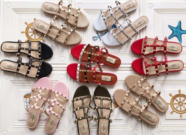 2018 Diseñador de las mujeres de cuero genuino plana fiesta de moda remaches chicas sexy pies descalzos zapatos de boda sandalias de tiras dobles tamaño 35-40