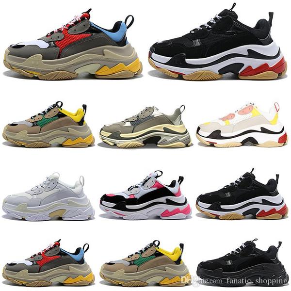 Mode de luxe triple chaussures design hommes de femmes plateforme Chaussures Noir Blanc Gris Rouge Rose entraîneurs des hommes de cru occasionnels baskets chaussures de papa