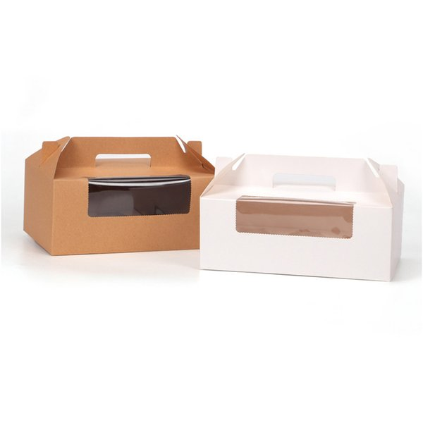 10 pcs 23.5x15x9cm cupcake box with window handle Kraft Paper Gift Packaging box wedding kids Birthday home Party Brown White free shipping