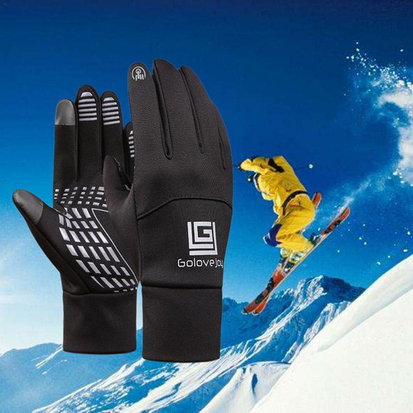 Men Model Thickened Fleece Lined Wind-proof Anti-skid Thermal Leather Gloves For Touch Screen For Outdoor Cycling Skiing