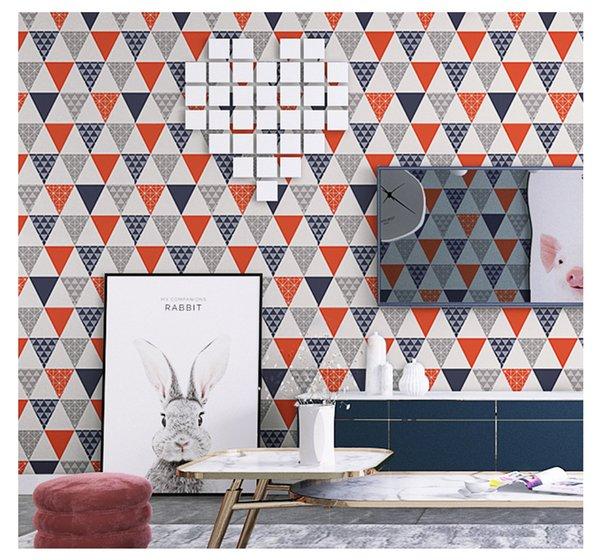 Moda moderna Colorido Geometeic Triângulo Papel De Parede Preto Branco Cinza Nórdico Quarto Livign Sala Wall Papers Home Decor Mural
