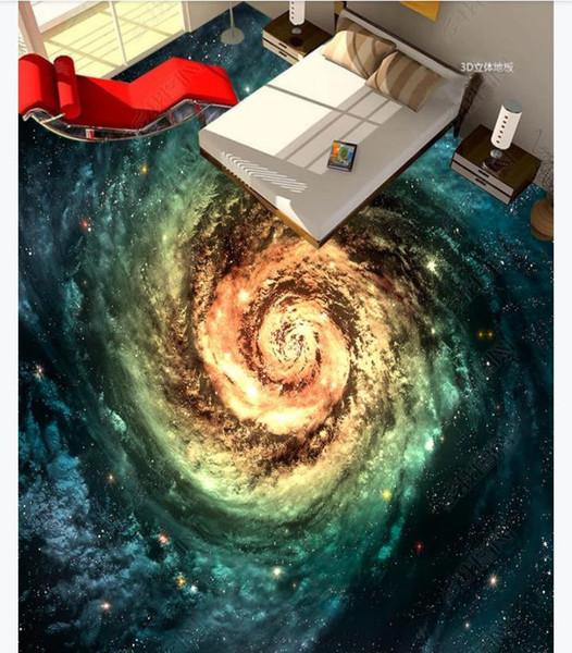 3d Customized Pvc Self Adhesive Mural Wallpaper Floor Painting Cosmic Starry Galaxy Swirl Bedroom 3d Floor Tiles Waterproof Floor Animated Wallpapers