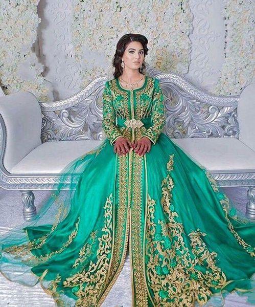 Esmeralda verde musulmán Formal vestidos de noche largos 2019 Abaya diseños Dubai turco oro apliques de encaje de manga larga vestidos de baile Kaftan marroquí