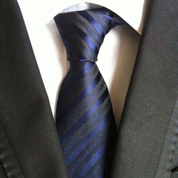 New Style Striped Classic Silk Mens Ties Neck Ties 8cm Purple Blue Ties for Men Formal Wear Business Suit Wedding Party Gravatas