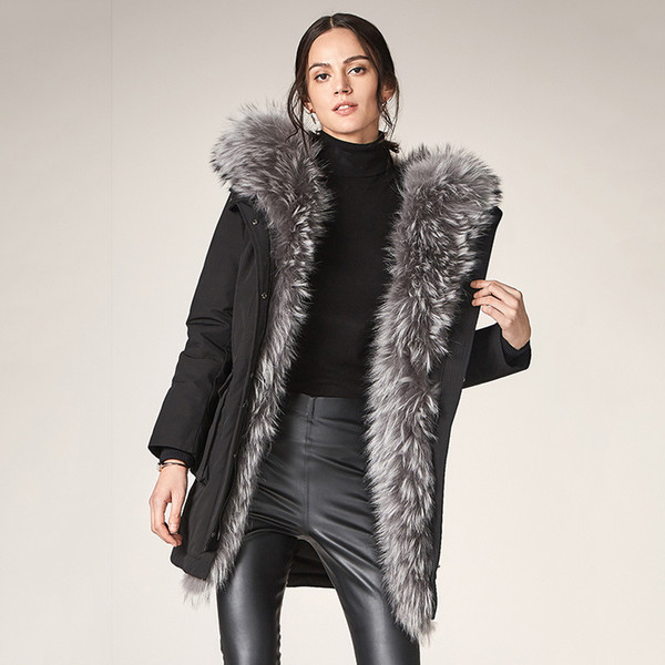 Ma'am Down winter Jackets for women 2019 Super Fox Hair Even Cap Lead Self-cultivation Type Version Long Sleeve Fur Collar Free shipping