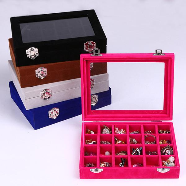 Multi Colors Choose 24 Grid Velvet Glass Jewelry Ring Nail Display Organiser Box Tray Holder Earrings Nail Storage Case F2681