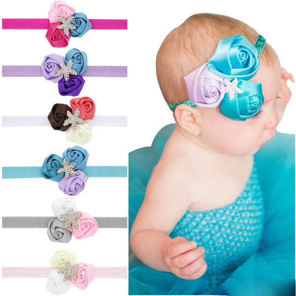 Baby Headbands Princess Flower headbands kids starfish Rhinestone Headwear Newborn infants Hairbands Children hair accessories