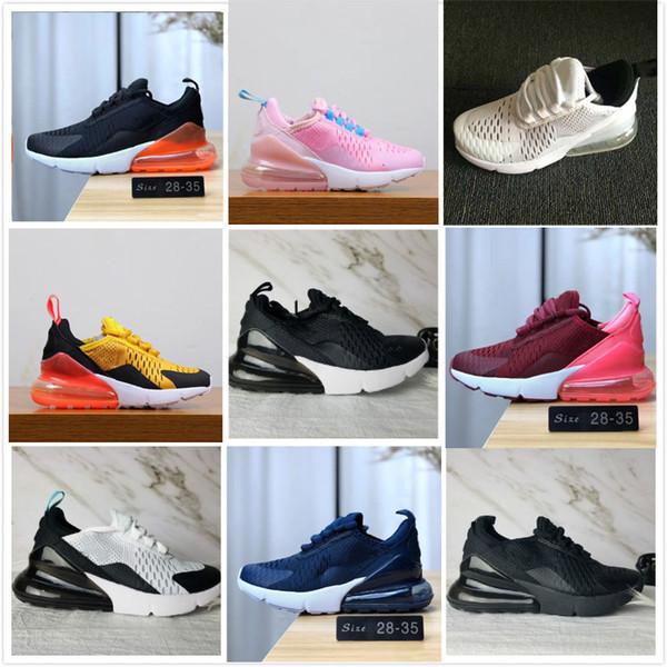 nike air max 270 airmax 2019 Mais Novo 27C Almofada de ar Malha Respirável Crianças Sapatos de corrida menino menina jovem garoto esporte Sneaker tamanho 28-35
