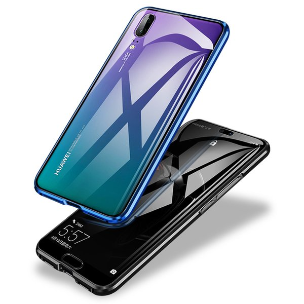 Magnetic Case 360 Front+Back Dual Side 9H Tempered Glass Screen Metal Bumper Cover for Huawei P20 P20 Pro