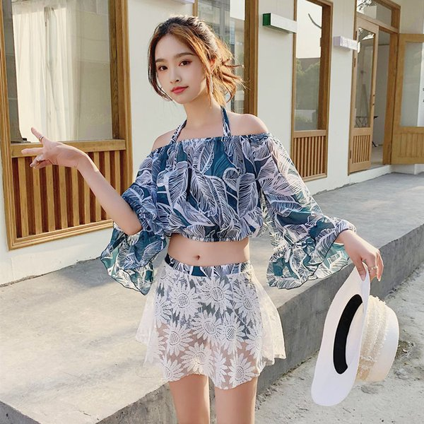 Swimming suit split three-piece suit lady's bikini steel bracket small breast gathering Cute Sexy Student conservative hot spring swimming s