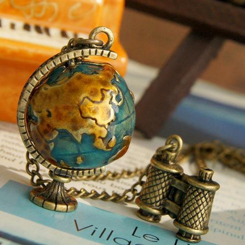 Necklaces & Pendants Vintage Globe Earth Telescope Tellurion Enamel Pendant Long Chain Necklace
