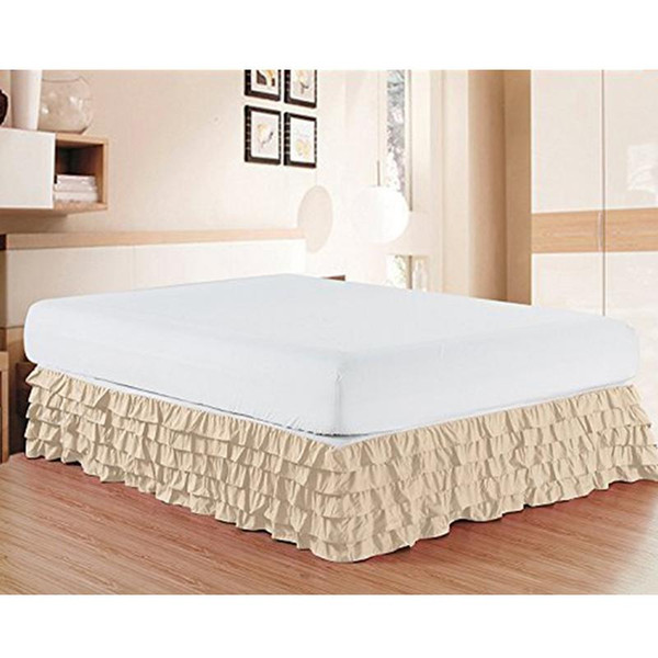 Elastic Cake Skirt Remove and Wash Pleated Wrap Around Bed Ruffle Queen Dust Ruffle Bed Skirt Wrap around Bed Skirt