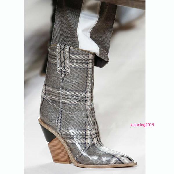 Echtes Leder Frauen Schuhe Spitz Westlichen Stiefel Cowboystiefel Frauen Mitte der Wade Chunky Wedges Stiefel Runway