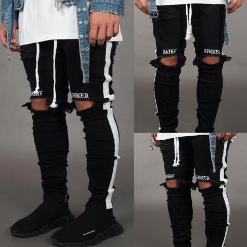 Erkek Kot Pantolon Rahat Sıska Beyaz Yan Kot Hip Hop Kırık Fermuar Gece Kulübü Pantolon Sokak Tarzı Siyah ve Beyaz