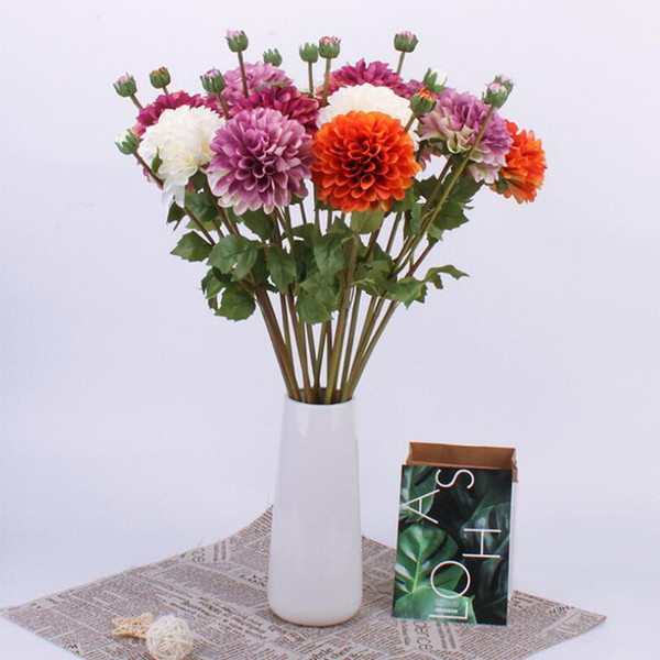 2 Heads Artifical Chrysanthemum Silk Flowers Small Bouquet Flores Wedding Party Festive Home Party Decorative Flowers Supplies 0021FL