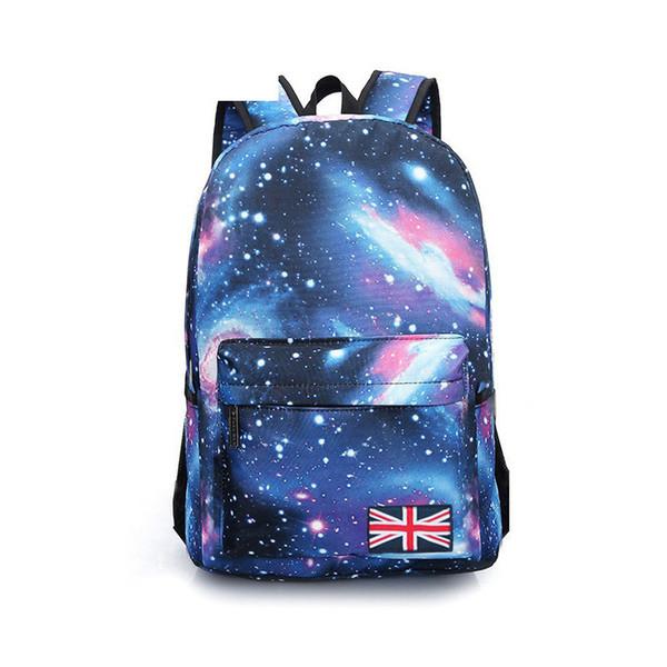 Hot 2019 Fashion Large Stars Universe Space Printing Backpack School Bag Teenagers Book Backpacks Student British Flag Bag Y0013