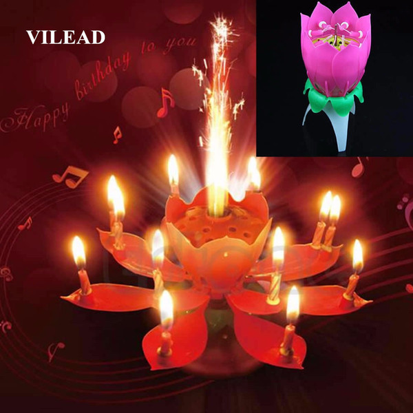 Vilead Brief Romantic Musical Lotus Flower Gift Art Happy Birthday Candle Lights Party Diy Cake Decoration For Kids C19041901