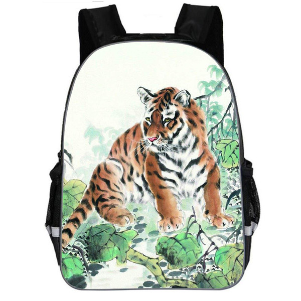 Tiger School Bag Kids Teen Wolf Lion Animal Prints Schoolbag Backpack with Reflective strap Boys Daypack 11 13 16 inch Rucksack
