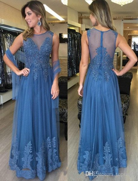 Blue Evening Dresses with Wraps Sheer Back Lace Appliques A Line High Quality Tulle Sequins Elegant Evening Party Gowns Formal Women Dress