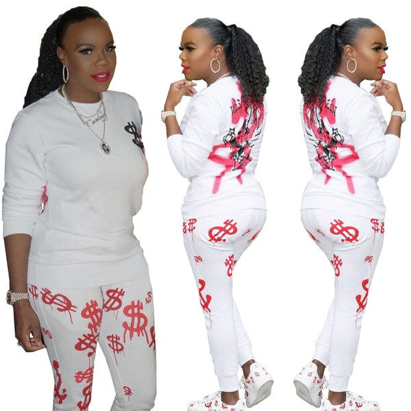 Spot real shot M150 cross-border women's 19 high-end European and American fashion solid color sports printing two-piece suit 82386