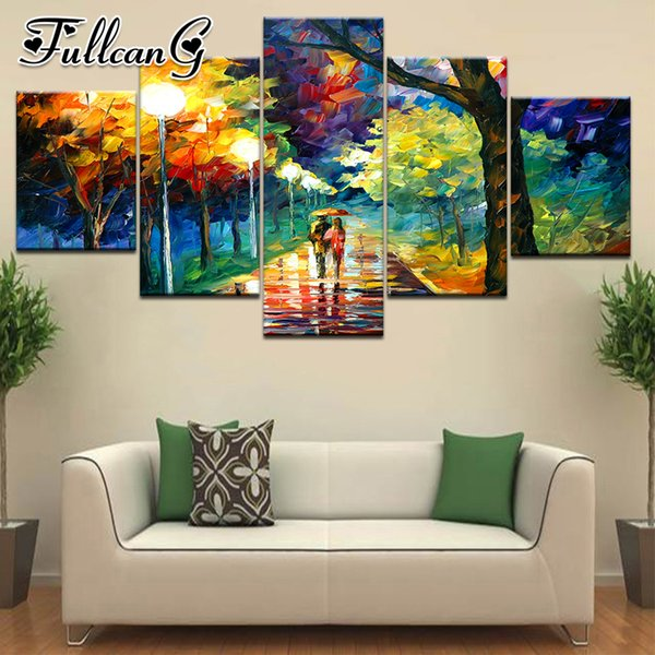 wholesale 5 piece diy diamond painting rainy night landscape full square/round drill mosaic embroidery multi-picture kit FC705