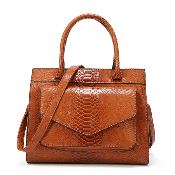 Serpentine Pattern Handbag Big Bag Luxury Women Fashion Shoulder Bags Large Leather Tote Bag For Office Lady Simple Handbags