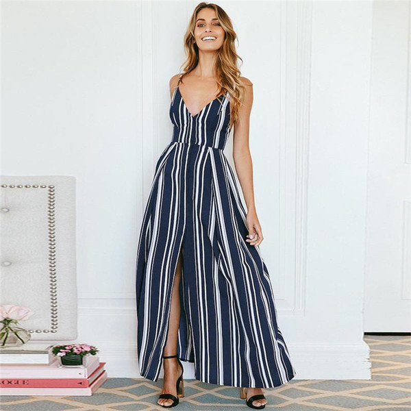 Sexy V Neck Striped Summer Dresses 2019 Sleeveless Back Bow Long Dress Split Chiffon Dress Casual Beach Sundress Vestido Mujer