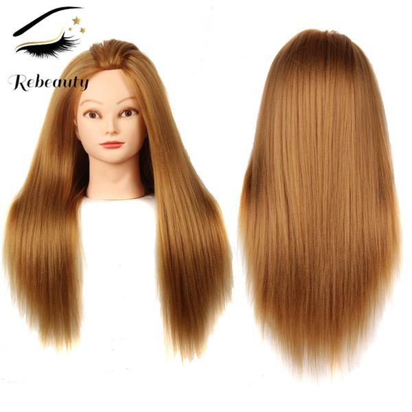 Rebeauty Hair Mannequin Head 22 Zoll Langes Goldhaar Cosmetology Manikin Training Head Modell Friseur Styling Praxis Training Puppe Kopf