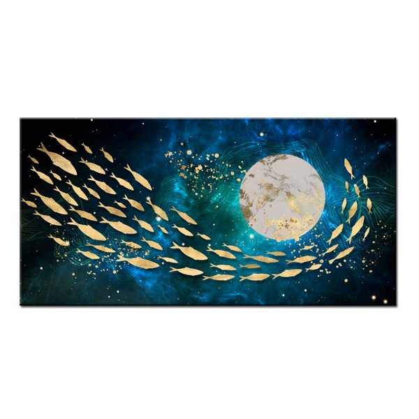 Wall Art Gifts Hot series Modern Abstract Gold Feng Shui Koi Fish Painting Printed On Canvas Picture office Living Room Home Decor BFS4014