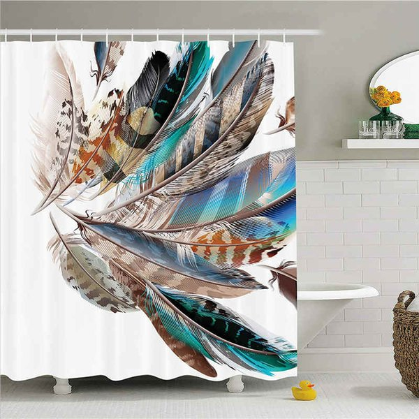 Feather House Decor Shower Curtain, Vaned Types and Natal Contour Flight Feathers Animal Skin Element Print, Fabric Bathroom Decor Set