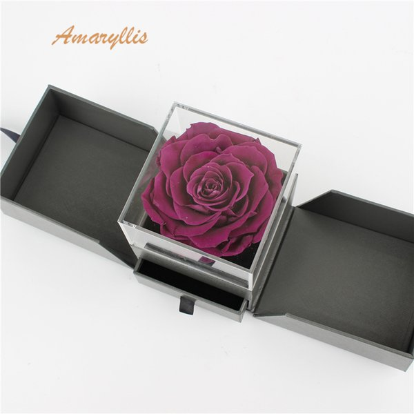 Amaryllis A grade high quality real touch purple eternal forever immortal flower Preserved Roses in surprise gift box long lasting