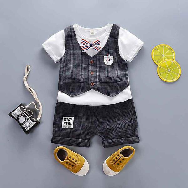 good quality baby boys clothing set summer toddler cotton sets newborn baby vest+t-shirt+short pants 3pcs gentleman suit for boys