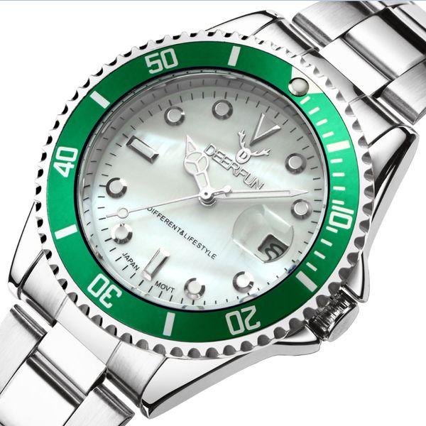 Rolexable Uhr Luxuxgold Männer GMT Drehbare Lünette Saphirglas Edelstahl-Band-Sport-Quarz-Armbanduhr