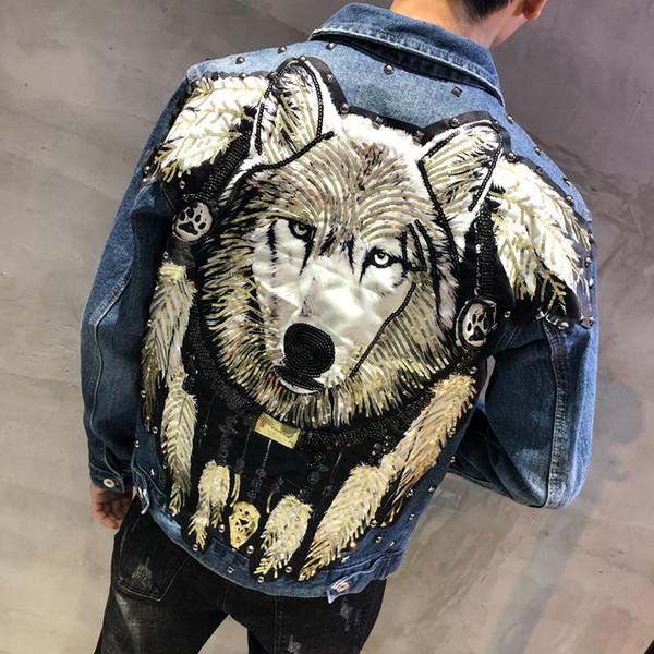 YASUGUOJI New 2019 Style Punk Roman Wolf Brodé Rivet Jean Veste Hommes Vestes En Jean Streetwear Mince Jeans Veste pour Hommes
