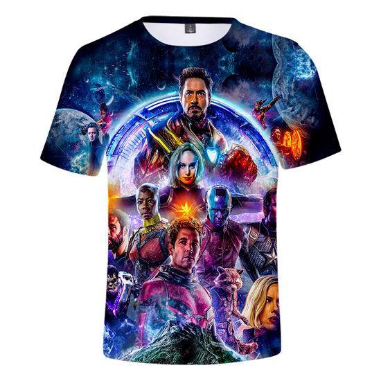 Novo Verão Mens O-pescoço T-shirt Vingadores Endgame 3D Impresso Mangas Curtas Camisetas Adolescentes Camisas Designer de Roupas Especiais