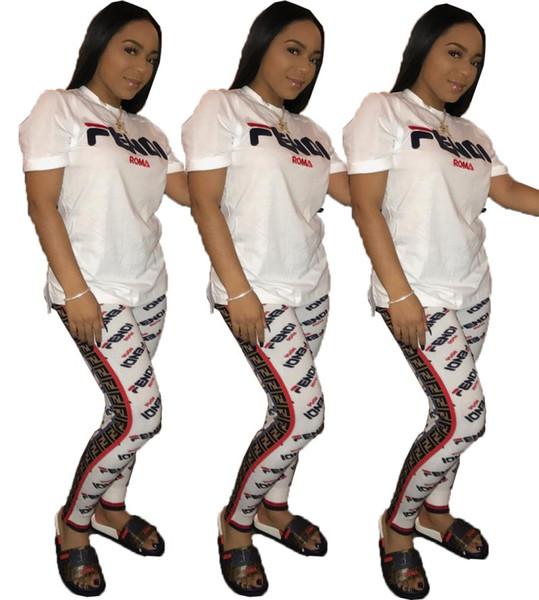 top popular Womens outfits short sleeve 2 piece set tracksuit jogging sportsuit shirt short legging outfits sweatshit pants sport suit hot klw0902 2019