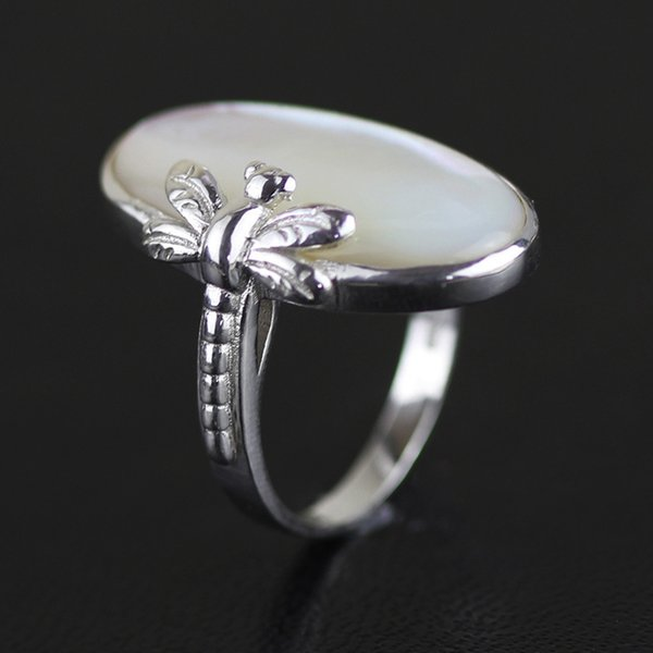 Inature 925 anillos de plata esterlina para las mujeres Natural Shell blanco anillo de la libélula regalo de la joyería SH190721