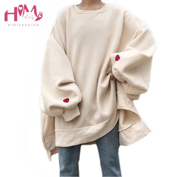 Japanische Harajuku Aufmaß Winter-Vlies-Frauen Hoodies Korean Herz Stickerei lose beiläufige lange Hülse plus Größe SweatshirtsMX191009