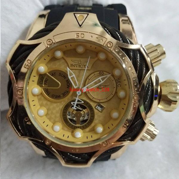 2019 INVICTA montre de luxe en or cadran hommes sport quartz montre automatique date en caoutchouc hommes cadeau montres