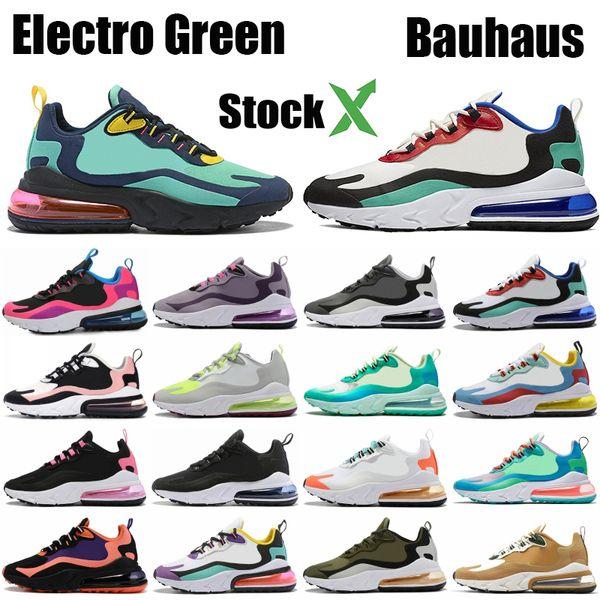 best selling High Quality 270OG React Bauhaus Triple Black Running Shoes Electro Green Geometric Art Heavy Metal hyper jade mesh Men Women Designer Shoes