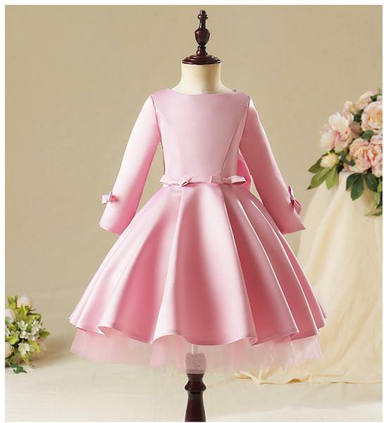 Merletto di colore rosa Girl Dress Bambini Party Girl principessa abiti a maniche lunghe Abiti da sposa per i bambini Wedding Gown Prima Comunione
