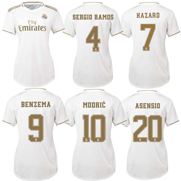 2019 real Madrid Women camisa de futebol em casa 19 20 HAZARD camiseta de fútbol 2019 2020 VINICIUS ASENSIO menina camisa de futebol camisa de futebol