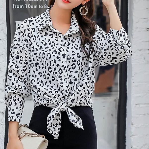 Compre Camisas Con Cuello Vuelto Hacia Abajo Para Mujer Vestido De Leopardo De Manga Larga Para Mujer Ropa Botón 2019 Primavera Para Mujer Blusas Y