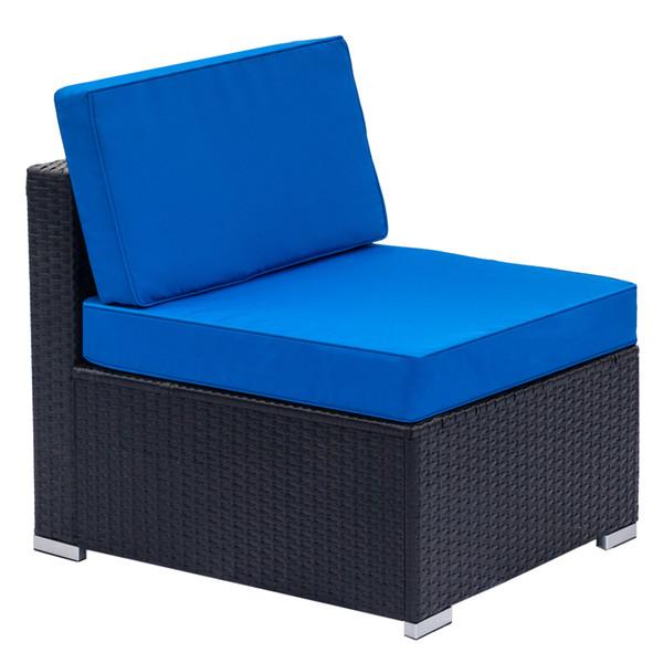 2019 Home Furniture Patio Loveseat Weaving Rattan Sofa Armless Chairs All  Weather Black PE Rattan Sofa Chair Blue Cushions Steel Frame From Borndo,  ...
