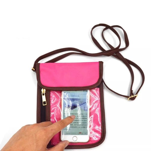 RFID translucent Touched PVC Phone Bag Hot Custom Travel Passport Holder RFID Blocking Neck Stash undercover neck wallet and Neck pouch