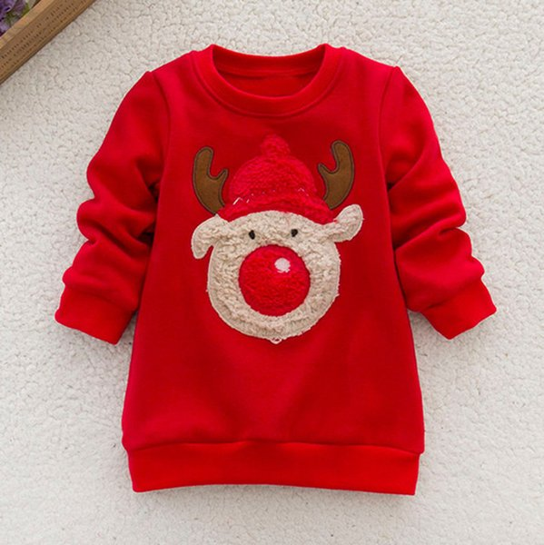 New Year's costumes for boys T shirts High quality Long Sleeve Print Christmas costumes Deer Tops Sweater children's clothing