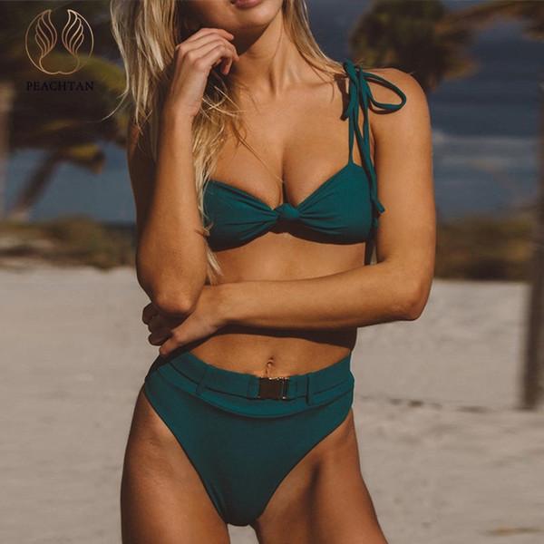 Peachtan Hohe Taille Bikinis 2019 Mujer Sexy String grün Bademode Damen Badegäste Schnalle Badeanzug weibliche Biquini Sommer Strand tragen