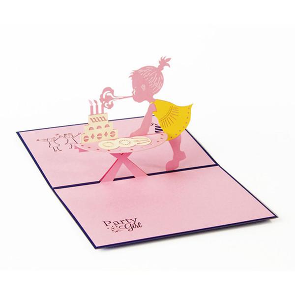 Compre Diseño 3d Tarjetas De Cumpleaños Paperbard Invitaciones Amor Bebé Niña Fiesta De Cumpleaños Tarjetas De Felicitación De Aniversario Tarjetas De