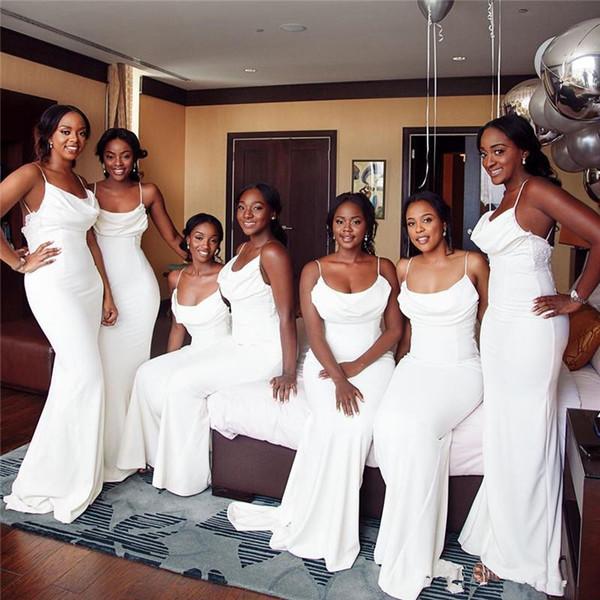 2019 Élégante Robe De Demoiselle D'honneur De Sirène Spaghetti Pas Cher Blanc Africain Robe D'invité De Mariage Sexy Longue Bal Evenig Miad D'honneur Robes
